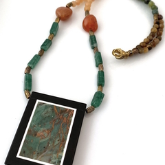 Natural Rainforest JASPER Intarsia Frame, Aventurine,  Agate ZEN Necklace.