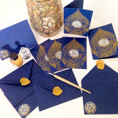Indian block print Navy & Gold set of 5 cards & envelopes