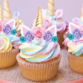 24x MINI  Unicorn Horn & Flowers  EDIBLE Wafer Cupcake Toppers #119