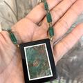 Natural Rainforest JASPER Intarsia Frame, Aventurine,  Agate ZEN Necklace.
