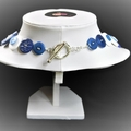 Blue and white button necklace - French Blue