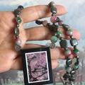 Natural RHODONITE Intarsia Frame, Pyrite, Pink & Black Yin Yang ZEN Necklace.