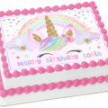 Unicorn Sparkles Rectangle Edible Icing  Personalized  Cake Topper