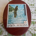 Brooch handcrafted from reclaimed hardwood and vintage Hungarian stamp