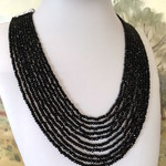 Black Spinel Crystal 10 Strands, non-metal Necklace.