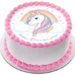Magical Unicorn Edible Icing  Personalized Circle Cake Topper