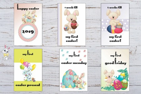 Baby Milestone Cards, Baby's First Easter Pack of 12 Cards Baby Gift Unisex