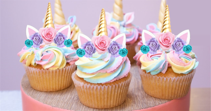 24x MINI Unicorn Horn & Flowers EDIBLE Wafer Cupcake ...