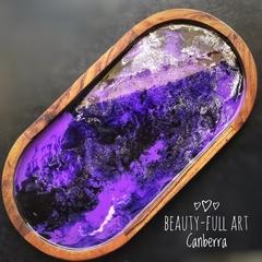 Purple Resin Art Serving Tray, Mango Wood Drinks Tray.