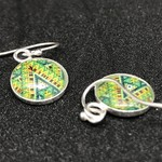 Vintage Patterned Art Glassed backed Earrings