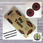 Two Crocheted Coasters in Red and Black on a 'My Team' Presentation Card