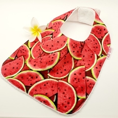 Dribble, Feeder Bib, Watermelon on Cotton Fabric, Bamboo Toweling Snap Fastened.