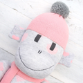 'Rose' the Sock Monkey - grey with peachy pink love hearts - *MADE TO ORDER*