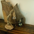 Driftwood & Rope Lamp/Rustic/Branch Lamp, Wooden Rustic Lamp, Table Lamp, Unique