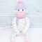 'Evie' the Sock Monkey - grey with pastel love hearts - *READY TO POST*