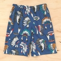 Size 6 - Shorts - Indian Head Dress - Cherokee - Cotton - Blue - Feathers