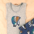 Size 00 - Singlet & Shorties set - Indian Head Dress - Feathers - Baby Boys -