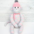 'Rose' the Sock Monkey - grey with peachy pink love hearts - *READY TO POST*