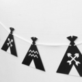 Teepee Tent Garland in Black & White. Baby shower or birthday party, banner.