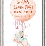 PERSONALISED BIRTH ANNOUNCEMENT PRINT - Orange Elephant
