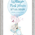 PERSONALISED BIRTH ANNOUNCEMENT PRINT - Blue Elephant