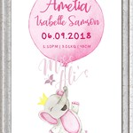 PERSONALISED BIRTH ANNOUNCEMENT PRINT - Pink Elephant