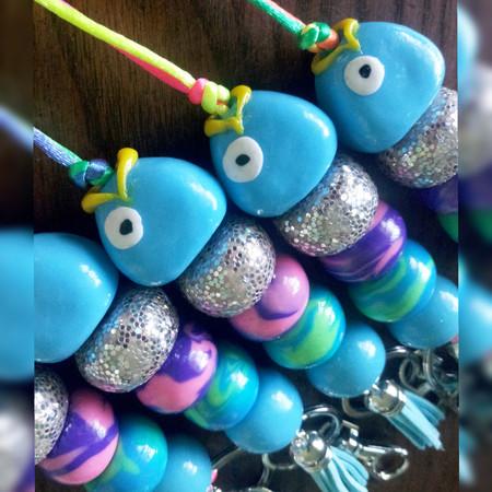 Sparkle Rainbow Fish Lanyard of Polymer Clay Beads - Long Length