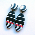 Oval stripe black white drop polymer clay earrings