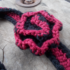 Crocheted headband, maroon and black acrylic with flower