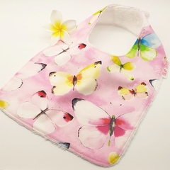 Dribble, Feeder Bib, Butterflies on Cotton Fabric Bamboo Toweling Snap Fastened.