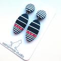 Oval stripe black white drop polymer clay earrings