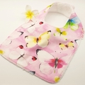 Baby Bib, Butterflies on Cotton Fabric Bamboo Toweling Snap Fastened.