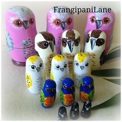 Australian native Birds Nesting Dolls handpainted Set of 5