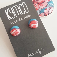 Teal and pink earrings - studs.