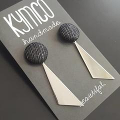 Black shimmer + triangle earrings