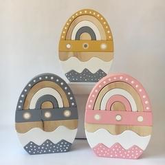 Handmade Wooden Egg Stacker. (9 Piece)