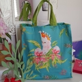 Parrot and Blossom Canvas Bag