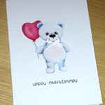 Happy Anniversary card - bear with balloon