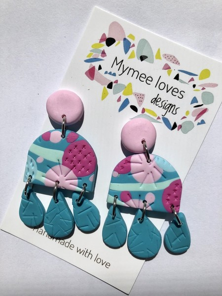 Gorgeous Teal, mint and pink handmade polymer clay earrings