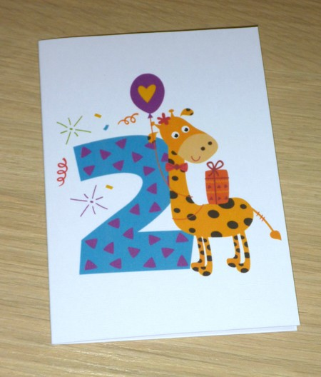 2nd Birthday card - two - giraffe - boys or girls