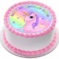 Rainbow Pink Unicorn Icing  Personalized Circle Cake Topper