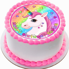 Rainbow Hearts Unicorn Edible Icing  Personalized Circle Cake Topper #160