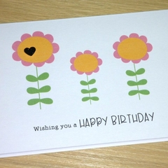 Female Happy Birthday card - 3 flowers