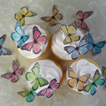 36x EDIBLE wafer  pastel printed butterflies butterfly cupcake toppers DIY