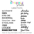 NAME LABEL GLITTER OR METALLIC - Extra Large Vinyl Name Label 20cm