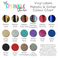 GLITTER OR METALLIC! VINYL NAME LABEL - Large 16cm