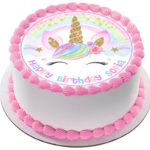 Unicorn Sparkles Edible Icing  Personalized Circle Cake Topper