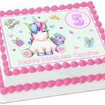 Princess Unicorn Rectangle Edible Icing  Personalized  Cake Topper