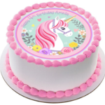 Flower Unicorn Edible Icing  Personalized Circle Cake Topper #160