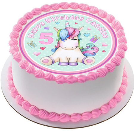 Little Princess Unicorn Icing  Personalized Circle Cake Topper